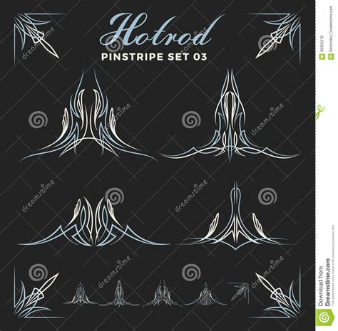 set of vintage pinstripe line art stock vector image