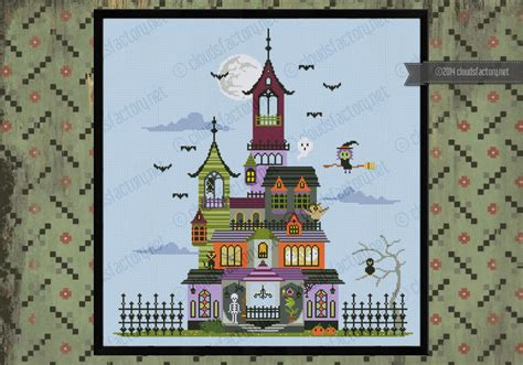 house pattern cross stitch haunted house