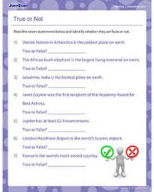 true or not free printable reading worksheets for 5th