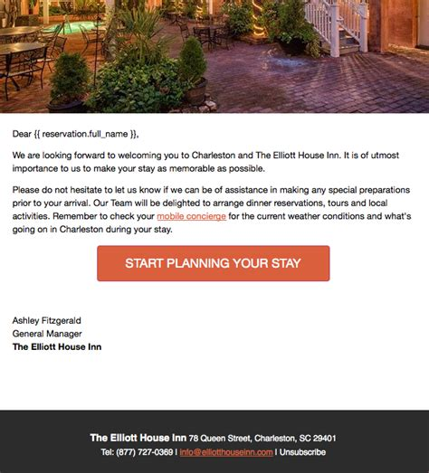 Best Practices In Travel Email Marketing Social Media Today Hotel Pre Stay Email Template