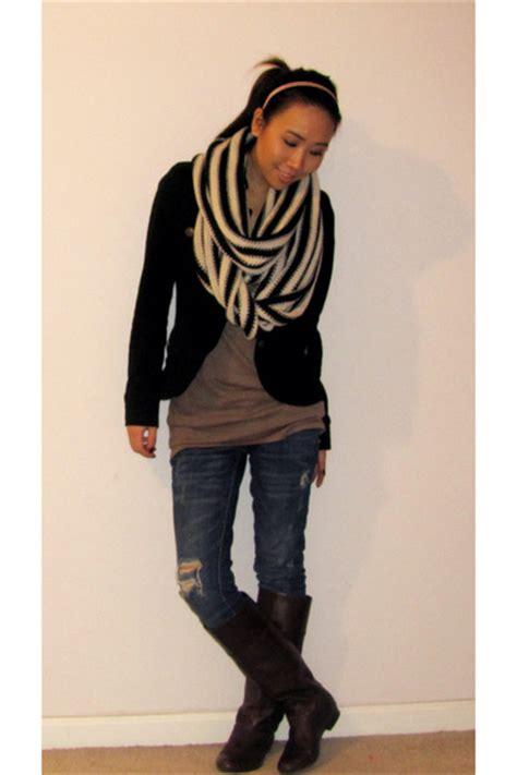 denim shirt black brown boots