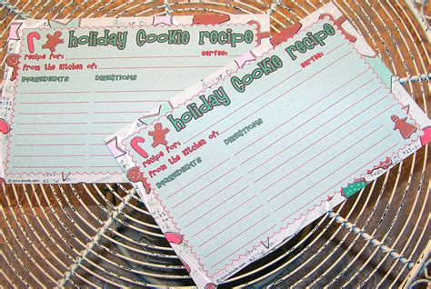printable christmas cookie recipe cards bnute productions free printable holiday cookie recipe card