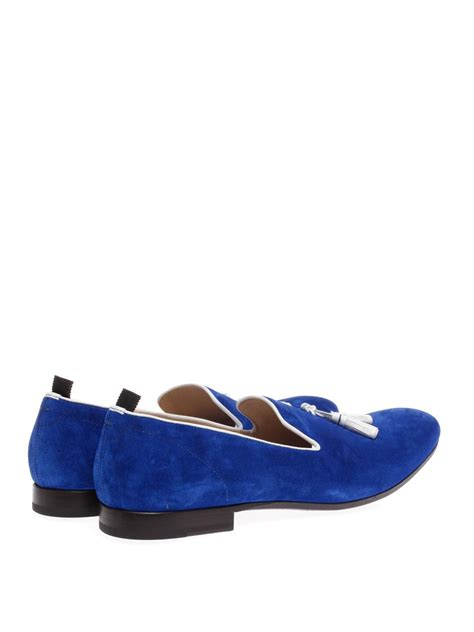 blue suede tassel loafers mcqueen suede tassel loafers in blue for lyst