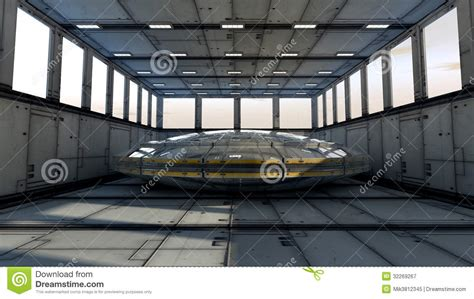 space interno futuristic interior and ufo royalty free stock photography