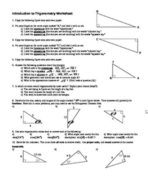Trigonometric Ratios Worksheet Answers by Introduction To Trigonometry Worksheet With Answer Key