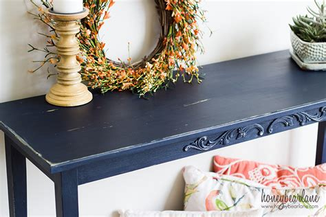Navy Blue Console Table by Easy Console Table Makeover Honeybear