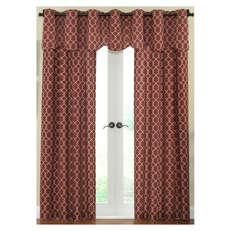 waverly curtains at lowes shop waverly chippendale 84 in l geometric garnet rod