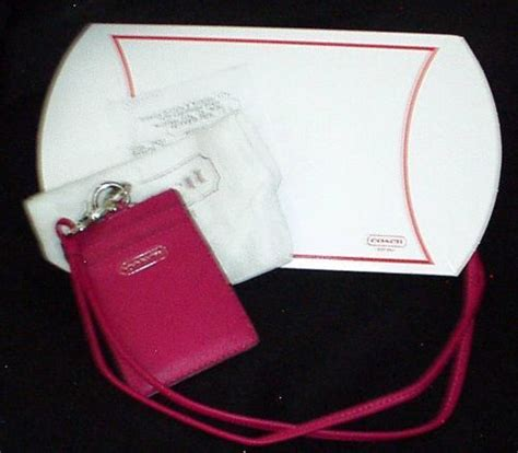 Coach Name Tag Holder coach cambell fuscia pink leather id lanyard badge holder 66780 images frompo