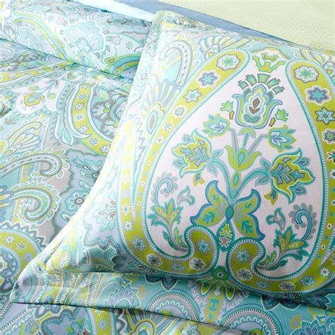 green paisley comforter 9 pc aqua blue green paisley queen comforter set teal boho