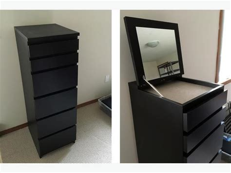 ikea malm chest of drawers with mirror ikea malm 6 drawer chest black brown mirror glass