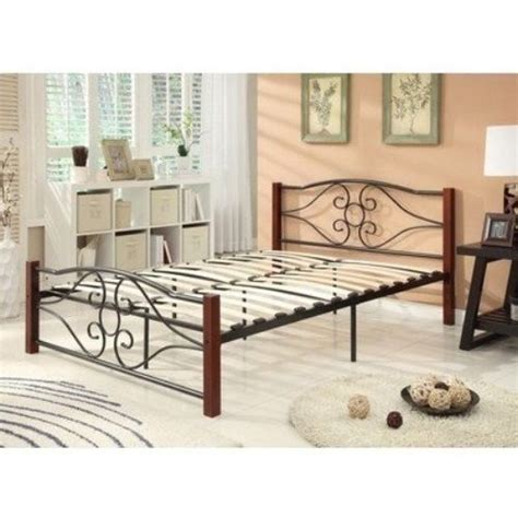 wood and metal headboard and footboard new twin full size wood metal mattress foundation bed