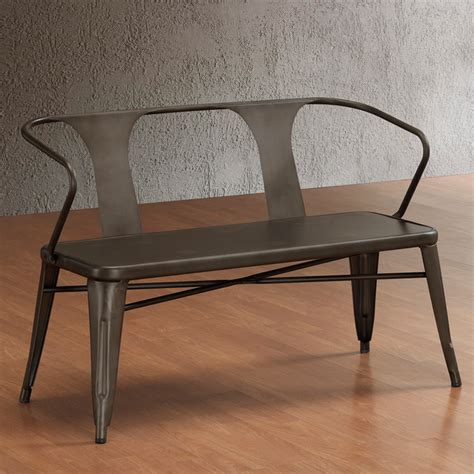 modern metal bench tabouret vintage metal bench with back contemporary