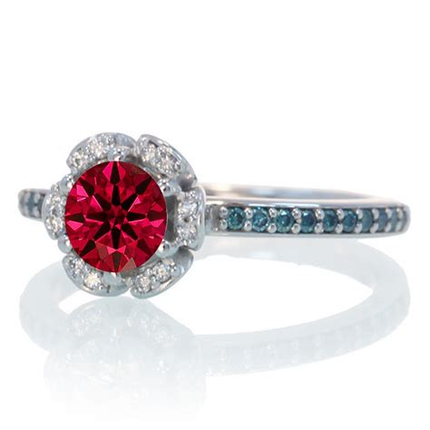 1 5 carat unique flower halo ruby and