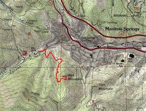 topographical map of colorado springs mountain trail