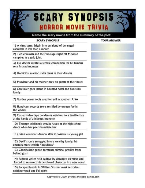 contemporary film history quiz answers halloween printable games