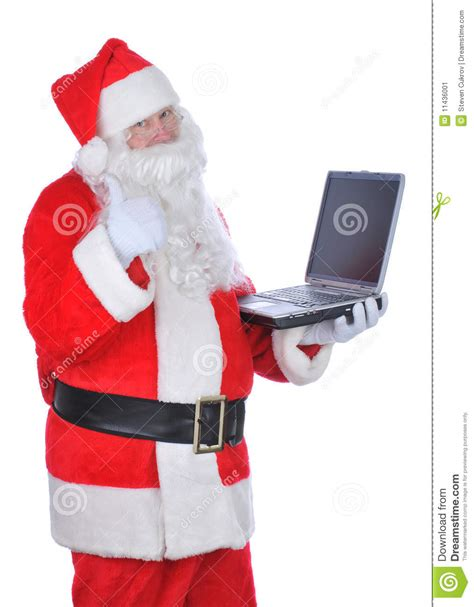 santa claus thumbs up santa claus holding laptop thumbs up stock image image of claus gsture 11436001