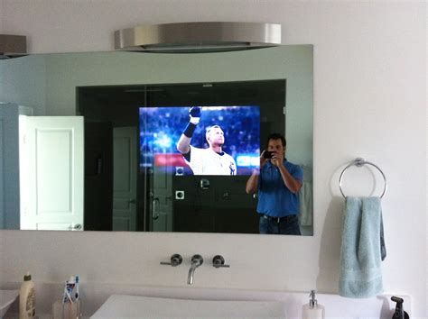 mirror with tv in it bathroom nc bathroom tv installation home theater solutions