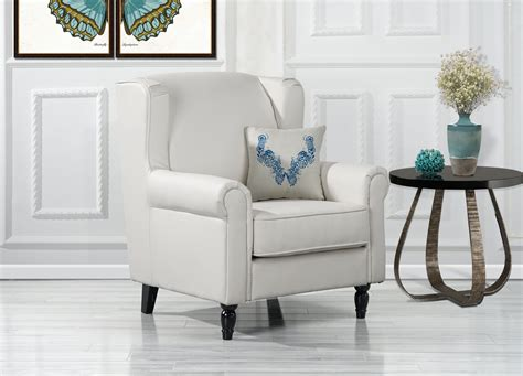 White Leather Living Room Chair - classic scroll arm faux leather accent chair living room