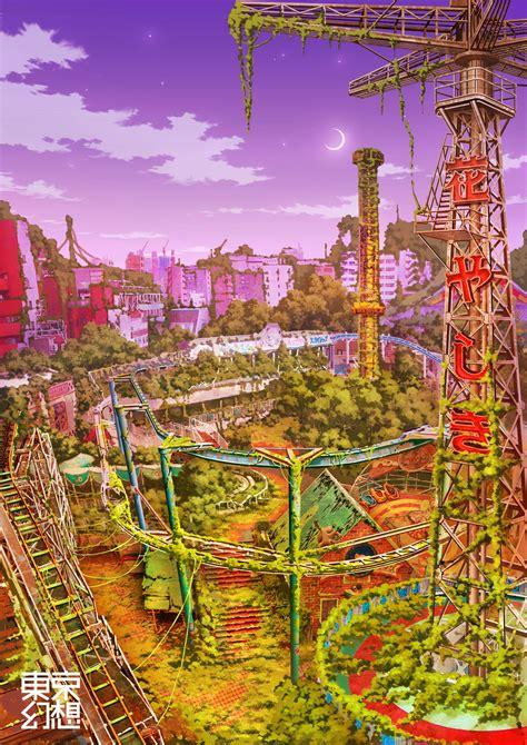billiken pixiv post apocalyptic tokyo scenery pink