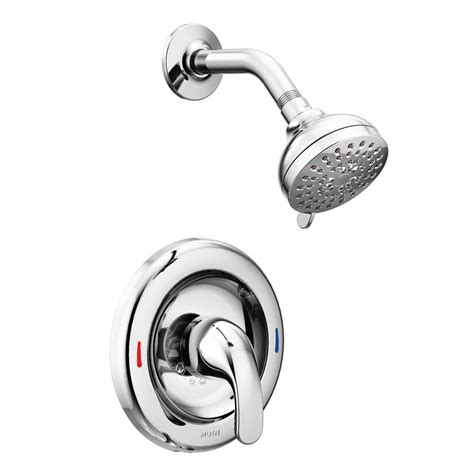 Moen Shower Doors Moen Adler 1 Handle 1 Spray Shower Faucet With Valve In Chrome 82604 The Home Depot