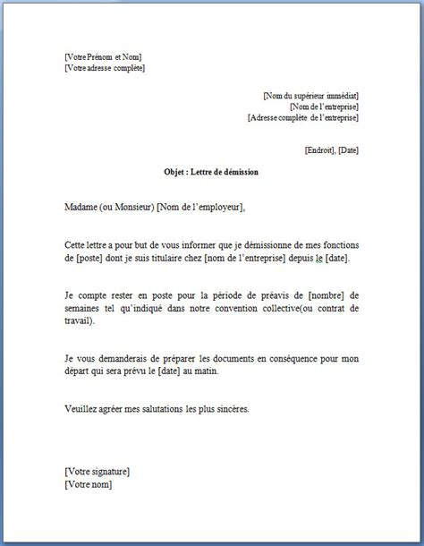 Exemple De Lettre De Demission Sans Contrat De Travail Modele Lettre De Demission Immediate