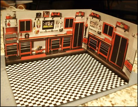 1 64 Scale Garage Diorama by Paperkraft City