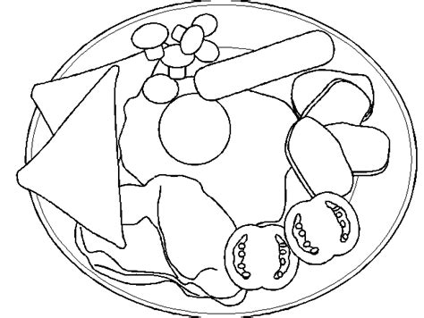 Free Coloring Pages Of Full Plate Of Food Food Plate Coloring Page