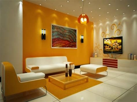 ceiling light  living room yellow color paint living
