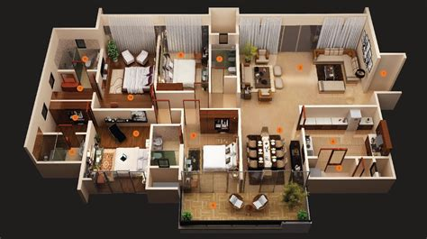 Four Bedroom | 50 four 4 bedroom apartment house plans architecture