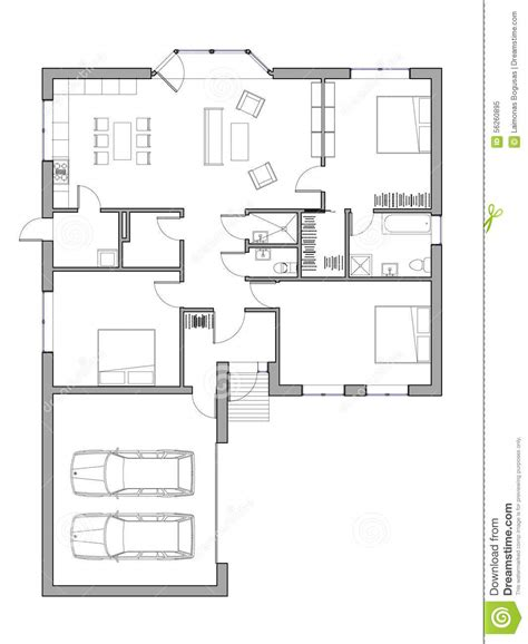 single family house plans project of the single family house stock illustration
