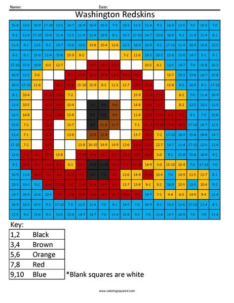 14as Washington Redskins Nfl Nfc Math Coloring Pages Nfl Color Number