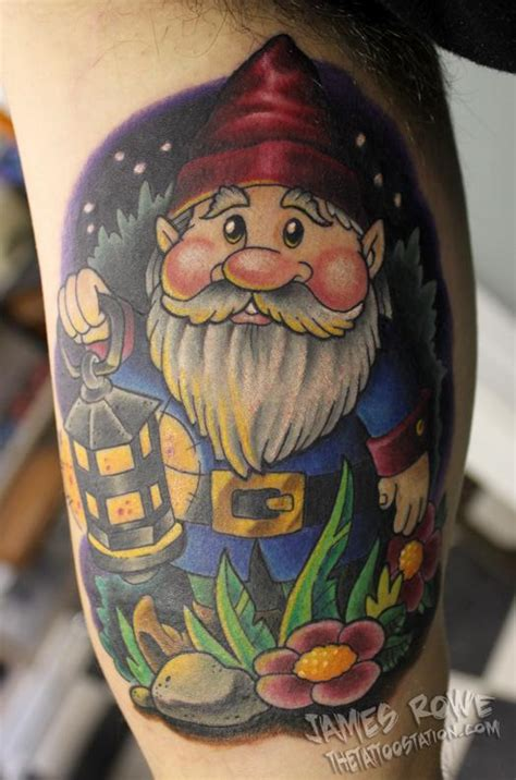my family tattoo jackson michigan garden gnome inner bicep by james rowe tattoonow