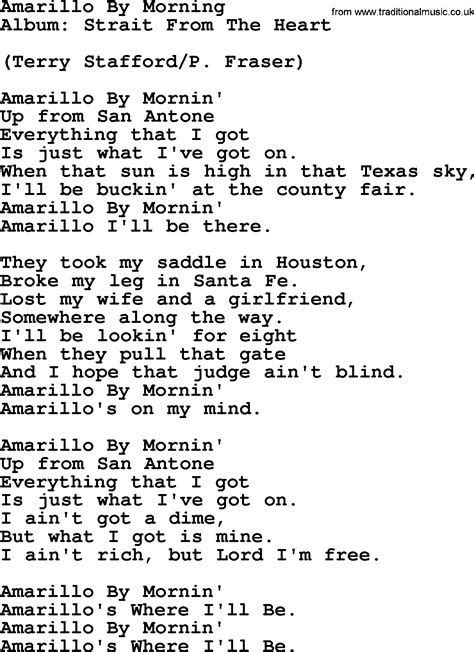 song by amarillo by morning by george strait lyrics