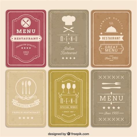 menu card templates vector free retro menu cards vector free