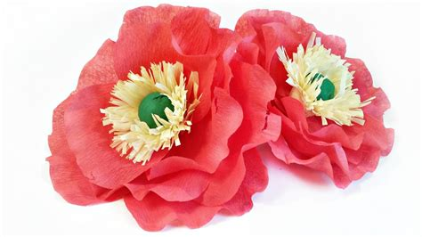 How To Make Poppies Out Of Tissue Paper - crepe paper flowers poppies tutorial easy