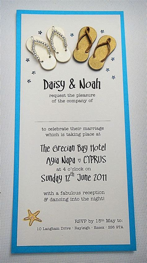 Beach And Seaside Themed Wedding Invitation With Cute Little Handmade Male And Female Flip Flops Theme Invitation Templates