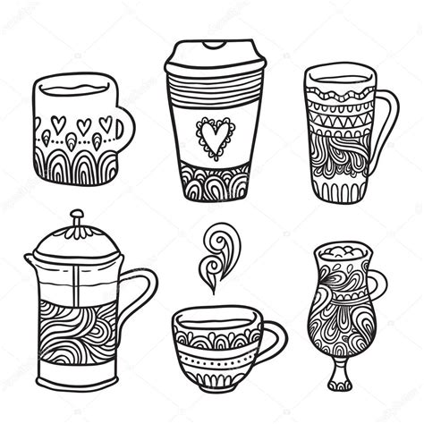 doodle coffee doodle coffee objects stock vector 169 kostolom3ooo 62337331