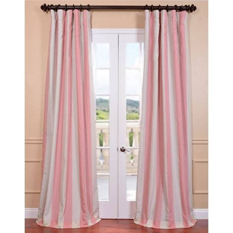 Pink Striped Curtains with Ultra Blackout Pink Blossom Taffeta Stripe Curtain