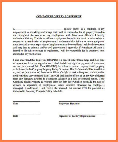 5  company property agreement form   Company Letterhead