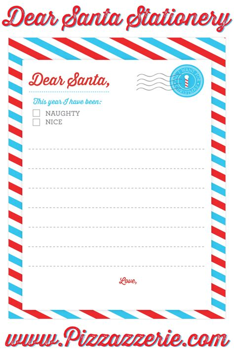 printable santa list paper freebie dear santa stationery pizzazzerie