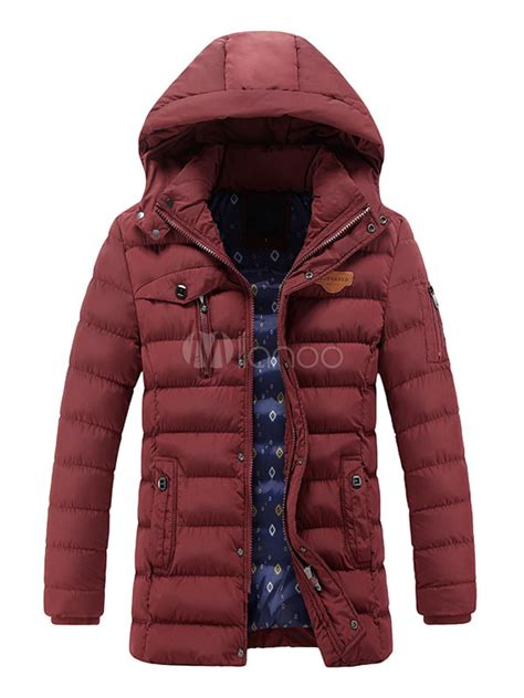 Jaket Parka Zipper Maroon Rip Black hooded coat zipper parka jacket for in black khaki blue burgundy milanoo