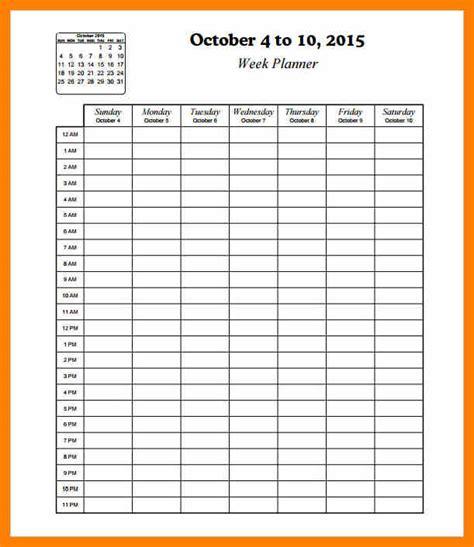 Printable Calendar Weekly Hourly Hourly Schedule Template 36 Printable Calendar Template