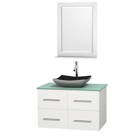 White Bathroom Vanity With Black Countertop by Wyndham Collection Wcvw00936swhgggs1m24 Centra 36 Inch
