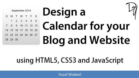 calendar design html5 design a calendar for your blog and website using html5