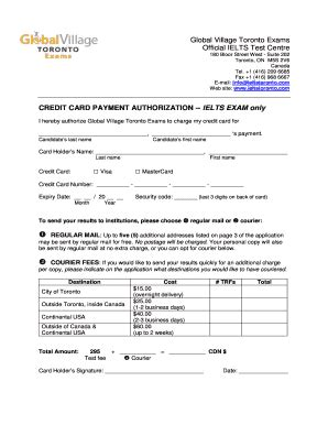 Credit Card Authorization Form Ielts Fillable Credit Card Authorization Form Toronto Ielts Test Centre Fax Email Print
