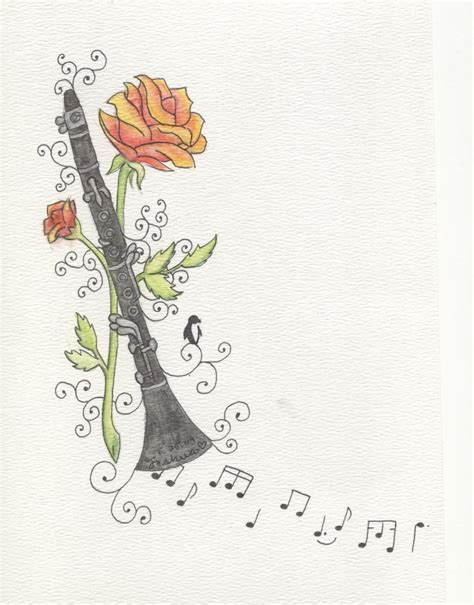 clarinet tattoo clarinet and roses by ladycaryn on deviantart