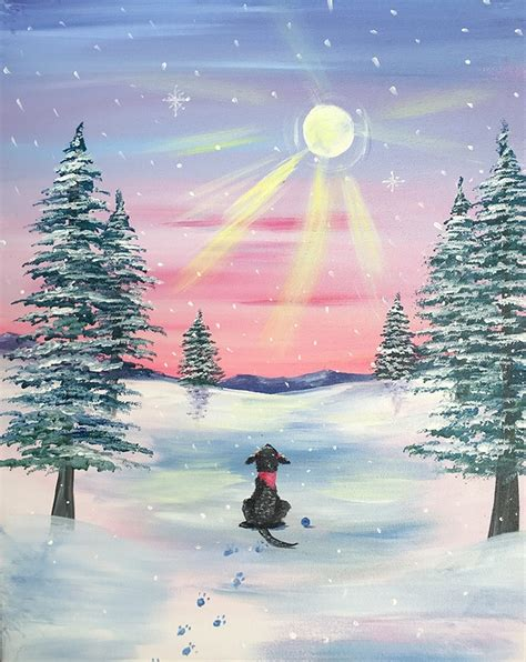 paint with a twist winter paint nite snow daze