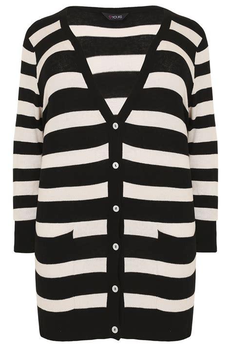 Cardigan Stripe Black White black white stripe belted boyfriend cardigan plus size 16 to 36