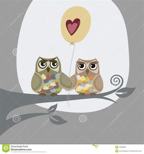 owl lover couple owl birds love with red heart on tree cartoon