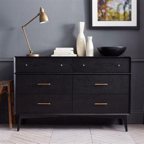 mid century modern black dresser mid century 6 drawer dresser black west elm